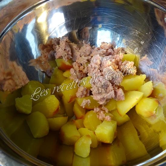 Salade de pommes de terre au thon, haricots et petits pois06