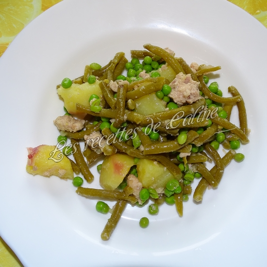 Salade de pommes de terre au thon, haricots et petits pois14