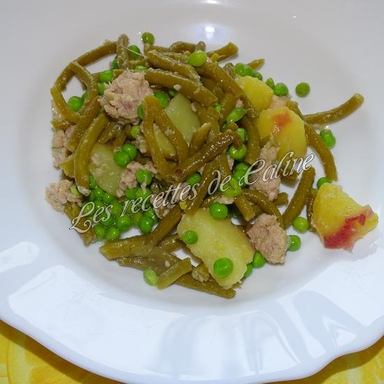 Salade de pommes de terre au thon, haricots et petits pois15