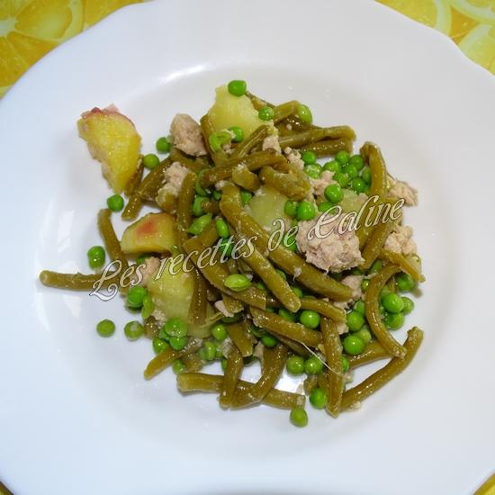Salade de pommes de terre au thon, haricots et petits pois16