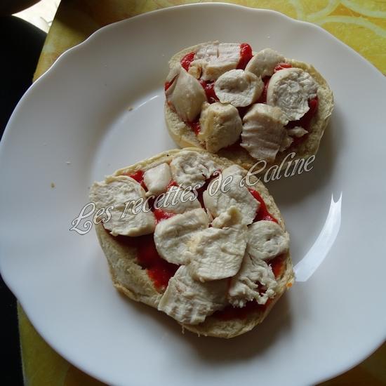 Bagel pizza au poulet & champignons10