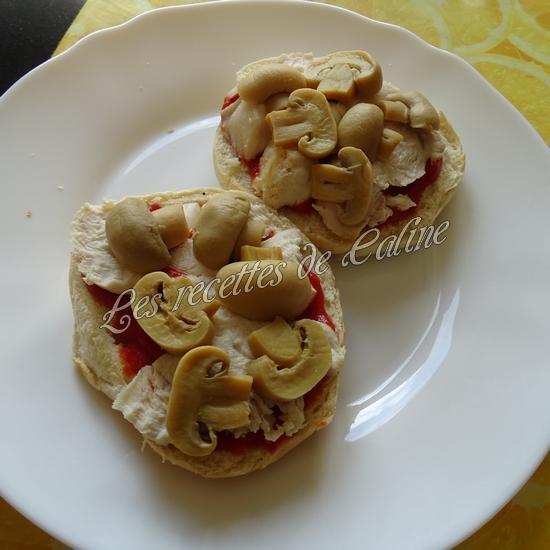 Bagel pizza au poulet & champignons11