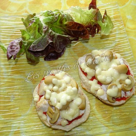 Bagel pizza au poulet & champignons14