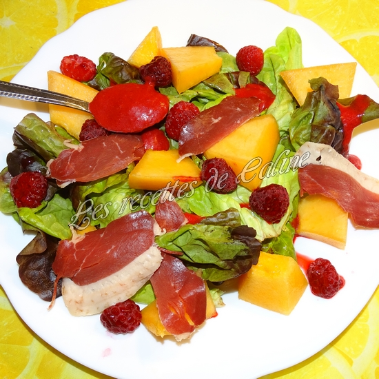 Salade melon, framboises et magret de canard18