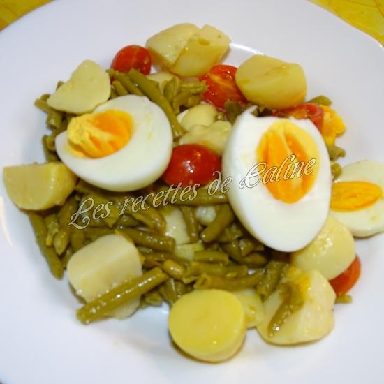 Salade de haricots verts, pommes de terre, tomates et oeufs12